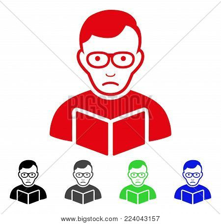 Dolor Reader Student vector pictograph. Vector illustration style is a flat iconic reader student symbol with grey, black, blue, red, green color variants. Face has desperate expression.