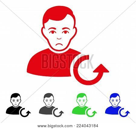 Dolor Refresh User vector pictograph. Vector illustration style is a flat iconic refresh user symbol with grey, black, blue, red, green color variants. Face has pitiful emotion.