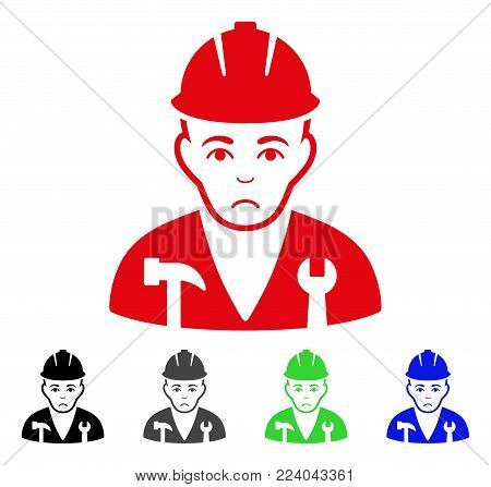Sad Serviceman vector pictogram. Vector illustration style is a flat iconic serviceman symbol with gray, black, blue, red, green color variants. Face has dolor emotions.