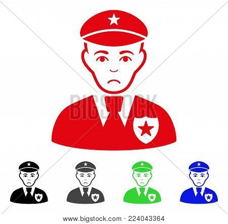 Dolor Sheriff vector pictogram. Vector illustration style is a flat iconic sheriff symbol with gray, black, blue, red, green color variants. Face has problem feeling.