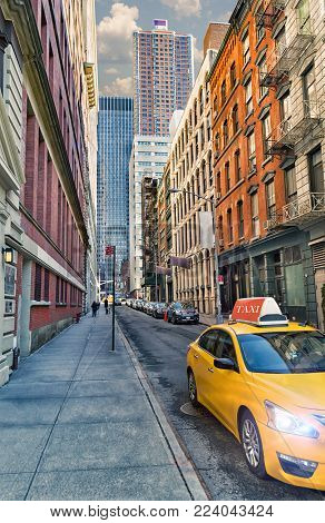 Yellow taxi on the streets of New York