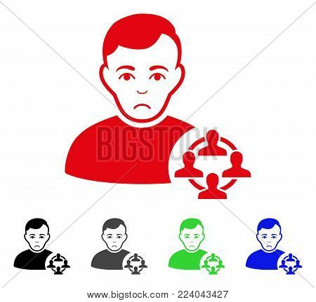 Unhappy Social Networker vector icon. Vector illustration style is a flat iconic social networker symbol with gray, black, blue, red, green color versions. Face has desperate feeling.