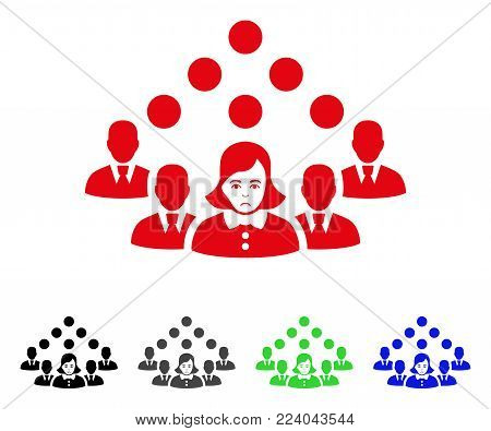 Unhappy Staff Team vector pictograph. Vector illustration style is a flat iconic staff team symbol with gray, black, blue, red, green color versions. Face has sad expression.