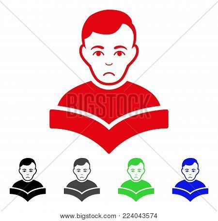 Sad Student vector pictogram. Vector illustration style is a flat iconic student symbol with grey, black, blue, red, green color versions. Face has mourning expression.