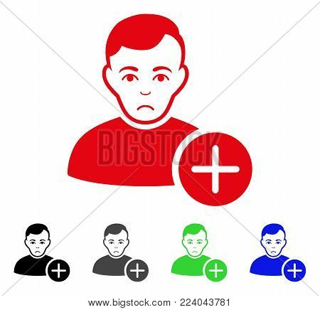 Unhappy User Add vector pictograph. Vector illustration style is a flat iconic user add symbol with gray, black, blue, red, green color versions. Face has sadly feeling.