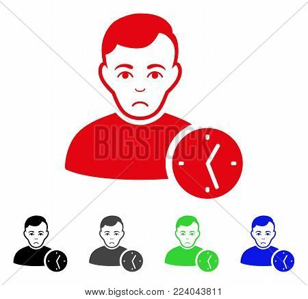 Unhappy User Clock vector pictogram. Vector illustration style is a flat iconic user clock symbol with grey, black, blue, red, green color variants. Face has depressed emotions.