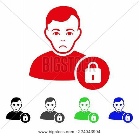 Dolor User Lock vector icon. Vector illustration style is a flat iconic user lock symbol with gray, black, blue, red, green color versions. Face has unhappy feeling.