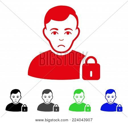 Dolor User Locked vector pictogram. Vector illustration style is a flat iconic user locked symbol with gray, black, blue, red, green color variants. Face has depressed expression.