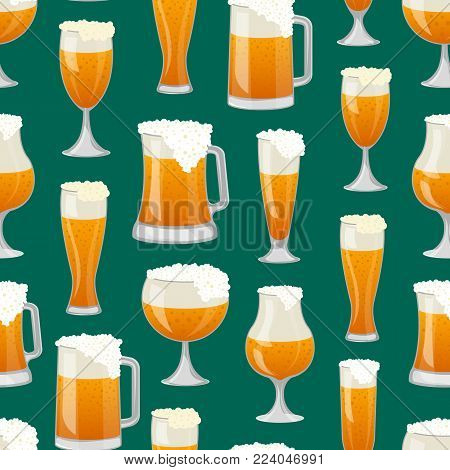 Seamless pattern with different beer mugs on green background. Alcohol drink backdrop, beer glass with foam, bar or pub menu cover design. Glass pint tankards of frothy beer vector illustration.