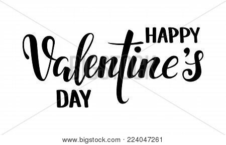 happy Valentine s day. Hand drawn creative calligraphy and brush pen lettering isolated on white background. design for holiday greeting card and invitation wedding, Valentine s day and Happy love day