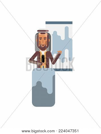 Arabic speaker on tribune doing business presentation with financial diagram. Corporate business people isolated vector illustration.