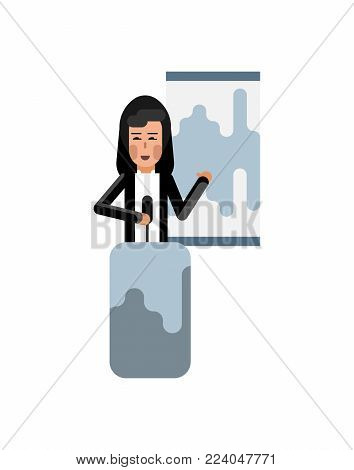 Asian woman on tribune doing business presentation with financial diagram. Corporate business people isolated vector illustration.