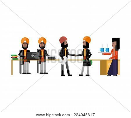 Business meeting indian businessmen in conference room. Corporate business people isolated vector illustration.