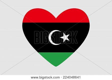 Heart of the colors of the flag of Libya, vector