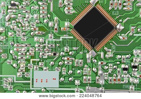 Close up of printed green circuit board