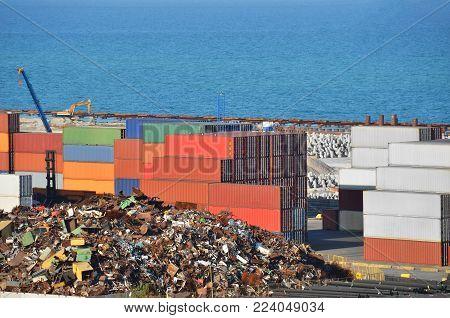 Scrap metal, container and pipe in port, Odessa, Ukraine
