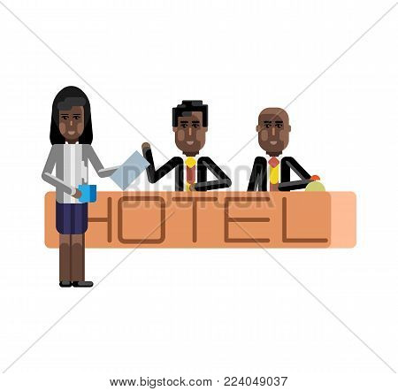 African receptionists at hotel reception desk. Corporate business people isolated vector illustration.
