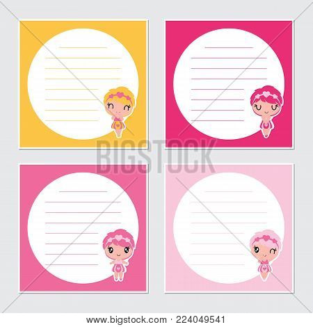 Cute colorful girls on circle frame vector cartoon illustration for Valentine memo paper design, stationery and planner sticker