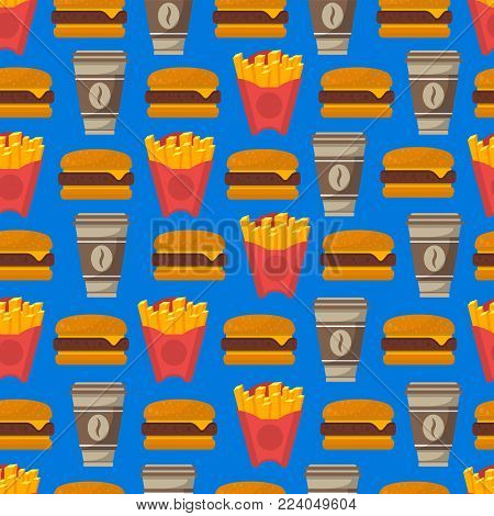 Street fast food seamless pattern with coffee cup, french fries and hamburger isolated on blue background. Restaurant takeaway menu design element, street food vector illustration in flat syle.