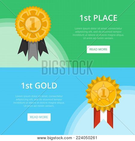 First place banners with golden medals with ribbons. Championship awards ceremony, grand trophy cup vector illustration. Sport competition event, favorite prize symbol, victory celebration poster.