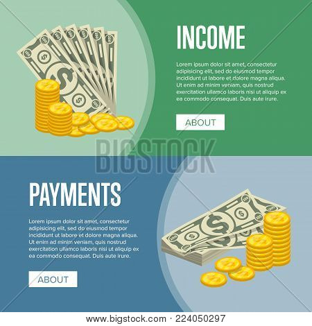 Money income and easy payments flyers with paper banknotes and golden coins in cartoon style. Financial safety and cash security, banking services and online money transaction vector illustration.