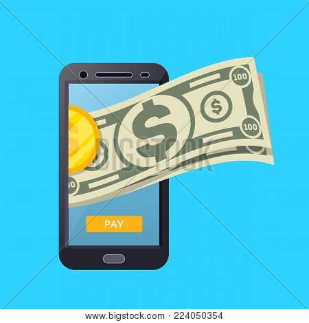 Online payment poster with paper banknotes and golden coin on smartphone screen. Financial safety and cash security, modern e-commerce, internet shopping, easy money transaction vector illustration.