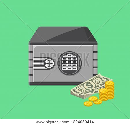 Metallic safe box with money near. Bank deposit box with closed door and buttons of electronic combination lock. Money storage poster, financial safety, cash security isolated vector illustration.