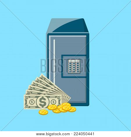 Safe box with paper banknotes and golden coins near. Bank deposit box with closed door and buttons of electronic combination lock. Banking and financial safety, cash security vector illustration.