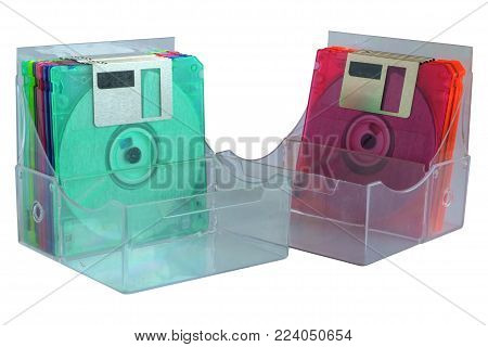 Floppy disk in box container on white background, old technology and legacy industrial computer equipment