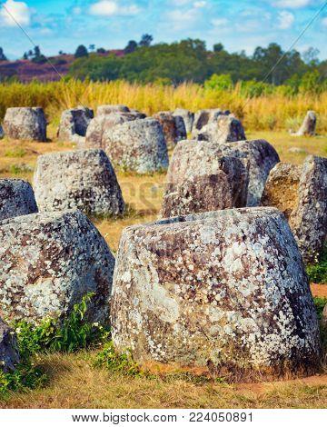 Archaeological landscape The Plain of jars. Laos