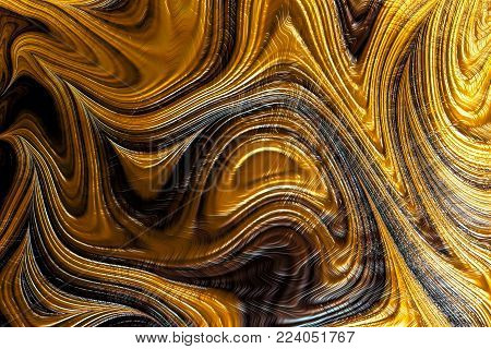 Golden fractal texture - computer-generated image. Chaos waves and curves like surface texture of stone or wood. Digital marbling.