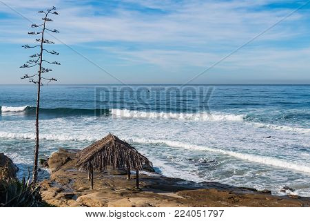 Windansea Beach in La Jolla, California with the historic surfer shack.