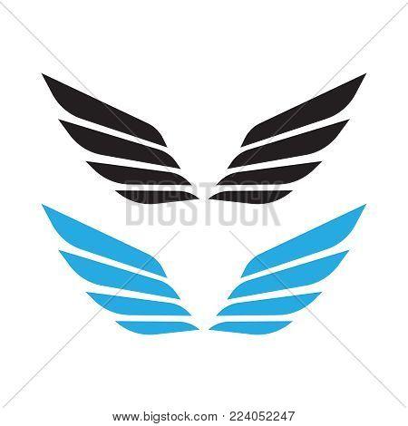 Angel Wings Vector. Bird Wings Art. Cartoon Sketch Of Angel Wing