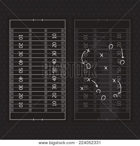 Football Or Soccer Game Strategy Plan Isolated On Blackboard Wit