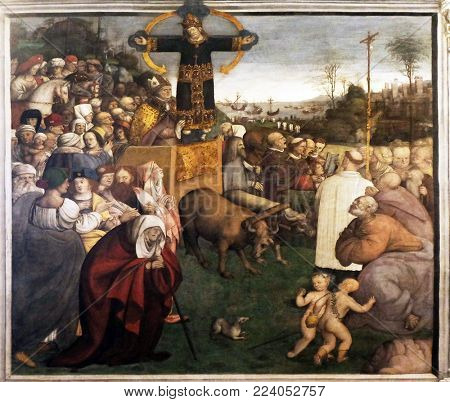LUCCA, ITALY - JUNE 03: Transportation of Holy Face by Amico Aspertini, Basilica of Saint Frediano, fresco, Lucca, Tuscany, Italy on June 03, 2017.