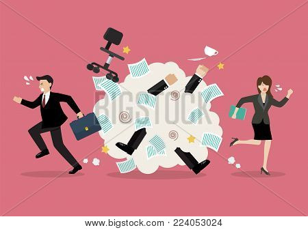 Office workers scuffling at work. Vector illustration