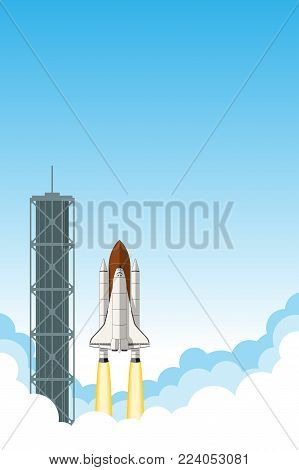 Space shuttle launch. Background with room for text.