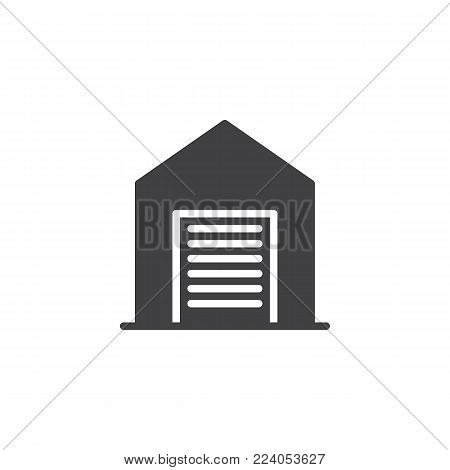 Garage icon vector, filled flat sign, solid pictogram isolated on white. Shed symbol, logo illustration.