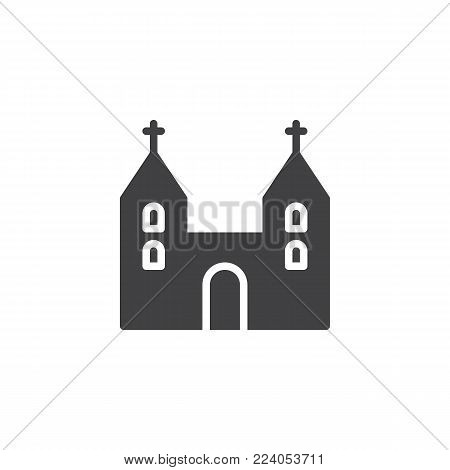 Cathedral church building icon vector, filled flat sign, solid pictogram isolated on white. Symbol, logo illustration.