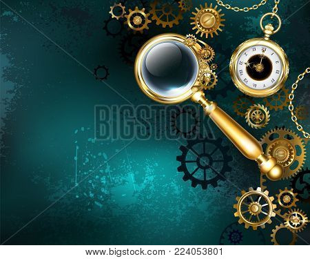 An antique magnifying glass with golden handle and convex lens on  green background with gold gears and an antique clock. Steampunk style.