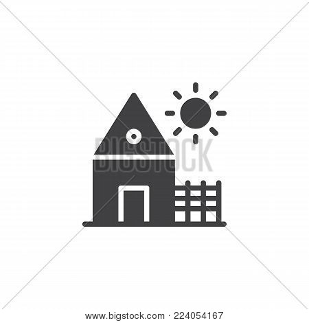Village house icon vector, filled flat sign, solid pictogram isolated on white. Countryside home, rancho symbol, logo illustration.