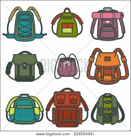 Backpacks or rucksack icons of school, fashion or travel sport and tourist women or men and children bags. Vector isolated modern flat haversack or knapsack design with pockets and zippers