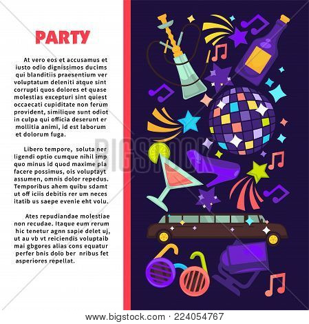 Party poster or disco club poster template for birthday or holiday celebration. Vector flat design of luxury limousine car, fashion party glasses and disco ball with notes, stars and fireworks