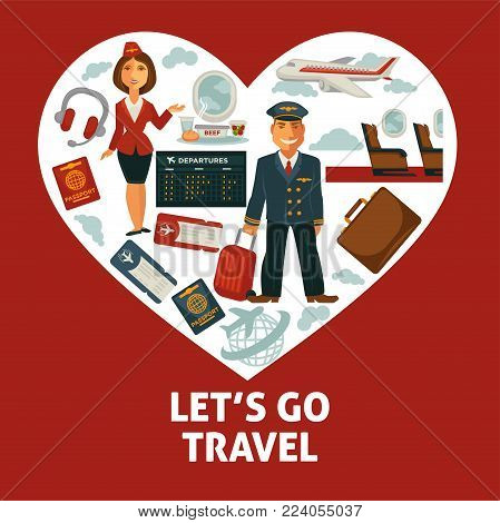 Travel heart poster for holiday vacation and summer air voyage. Vector flat design of tourist travel bag and passport or airplane flight tickets, luggage tags and stewardess or aircraft pilot
