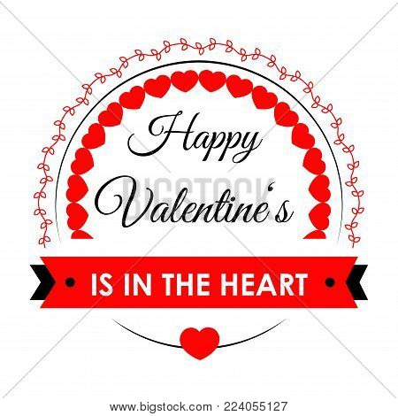 Happy Valentines in heart bright festive promotional poster with sign in italic and rounded frame isolated cartoon vector illustration on white background. Celebration of love advertisement banner.