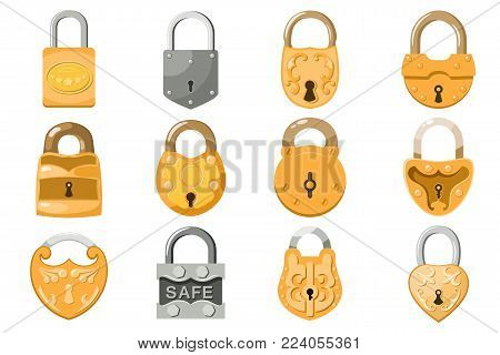 Padlock vector lock for safety and security protection with locked secure mechanism to interlock or lockout locking system illustration set isolated on white background.