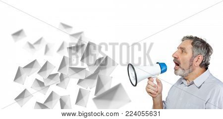 An elderly man says something into a megaphone isolated on white, spam mailing