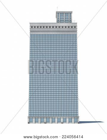 3d rendering of a white high office building with many large windows. Commercial building. Offices and industrial premises. Bland building exterior.