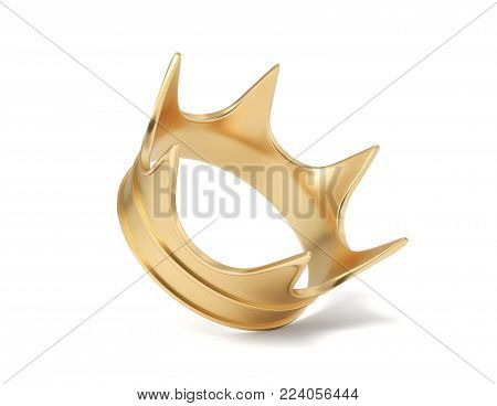 3d rendering of a single golden royal crown isolated on a white background. Monarchy symbol. Royal treasure. Winner and leader.