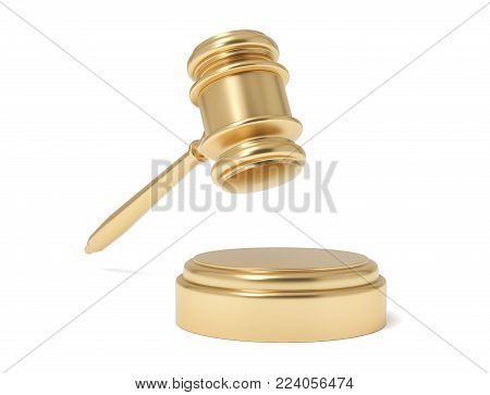 3d rendering of an isolated judge gavel in air under a sound block on a white background. Business and law. Costly lawsuit. Profitable work in court.